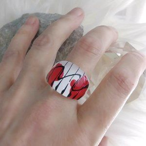 Vintage Abstract Acrylic Oversize Ring